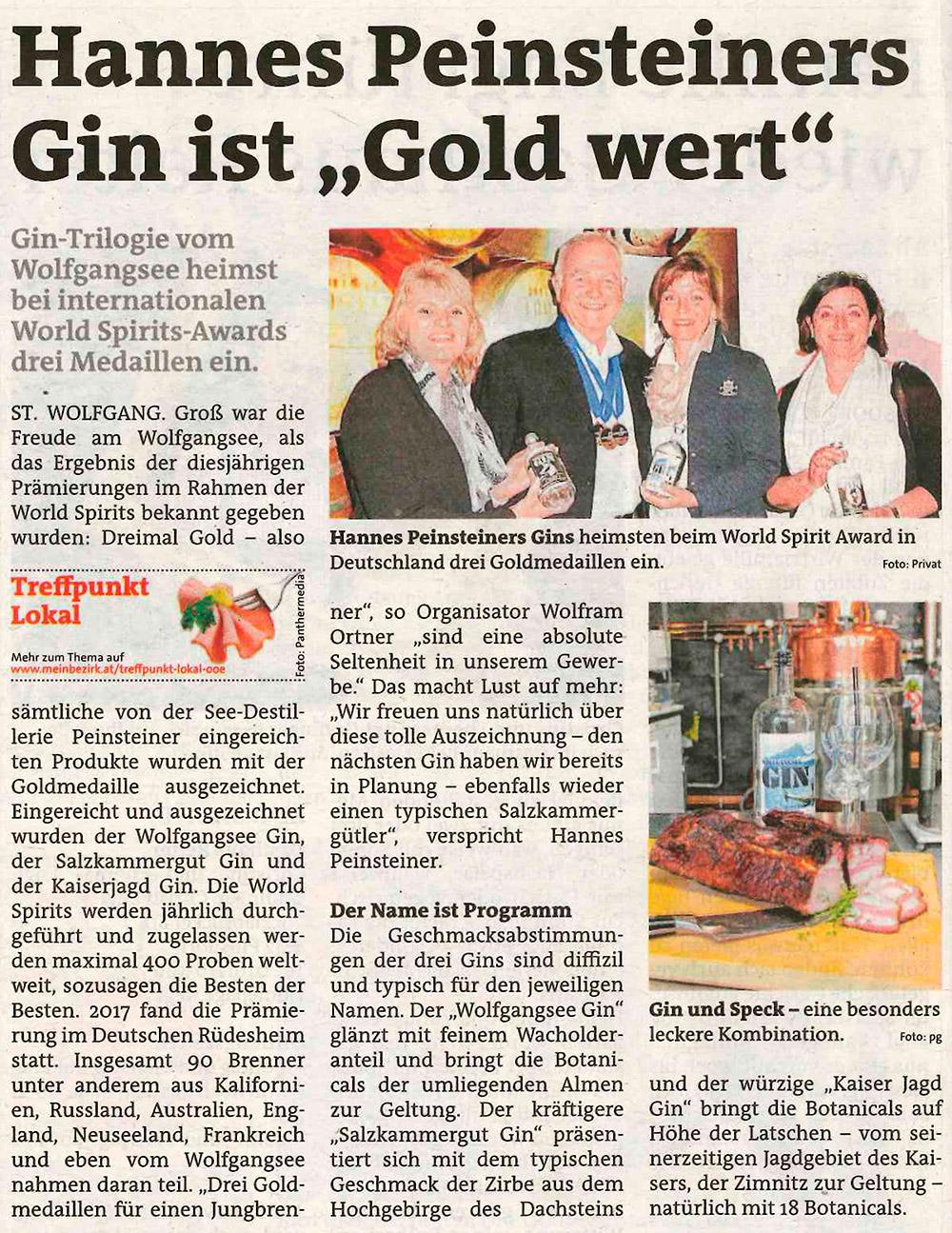 """ARTIKEL IN DER BEZIRKSRUNDSCHAU SALZKAMMERGUT - Hannes Peinsteiners Gin ist """"Gold wert"""""""
