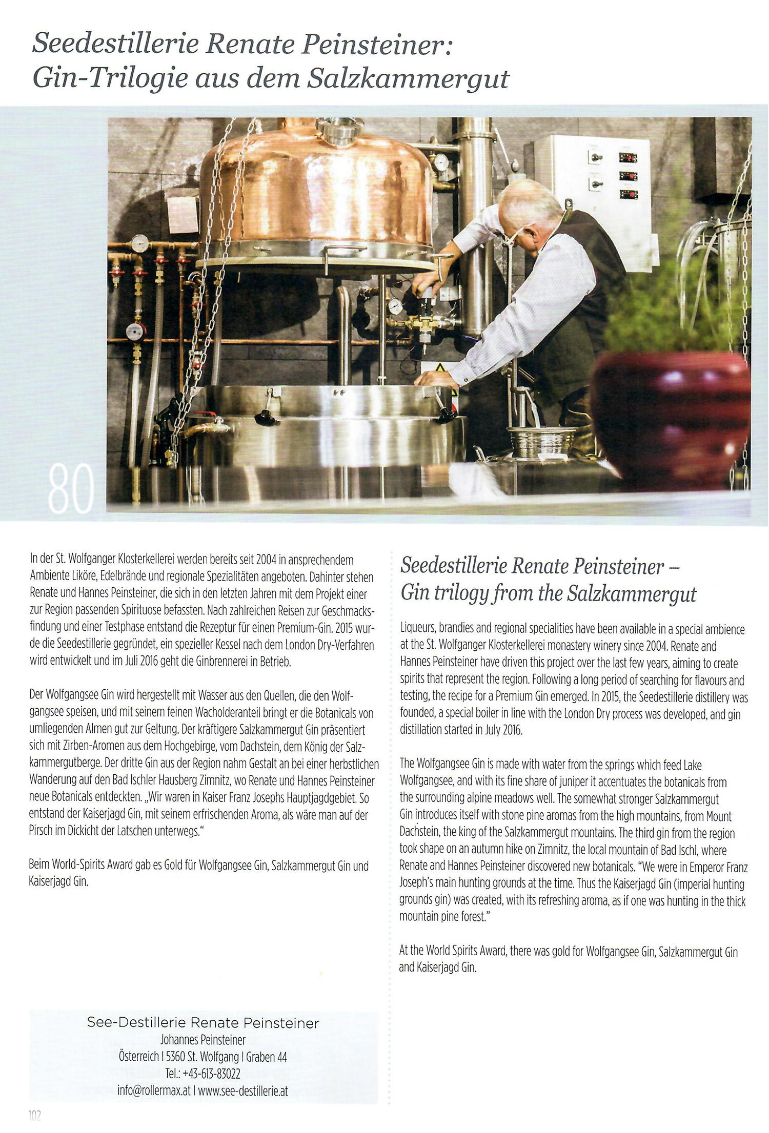 Seedestillerie Renate Peinsteiner: Gin-Trilogie aus dem Salzkammergut – Bericht im WORLDSPIRITSGUIDE 2018