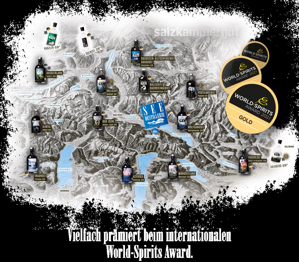 Salzkammergut-Übersichtskarte mit GINs aus der SEE-DESTILLERIE®